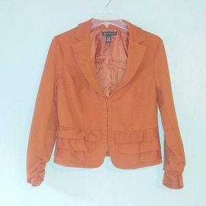 INC | Burnt Orange Rust Ruffle Blazer Medium